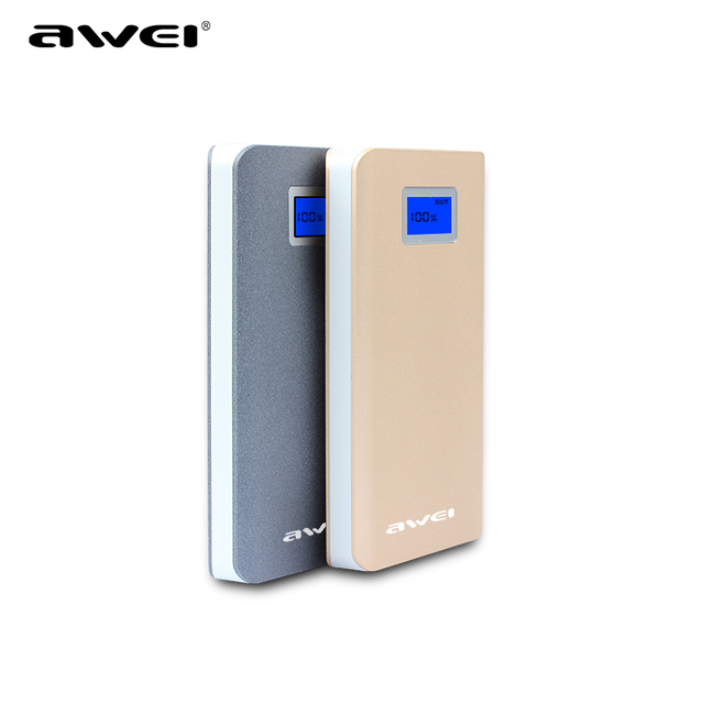 Original Awei Poverbank Portble Cargador Banco de la Energía 10000 mAh 2 USB Lcd Del Teléfono Portátil de Batería Externa Powerbank Cargador de Batería