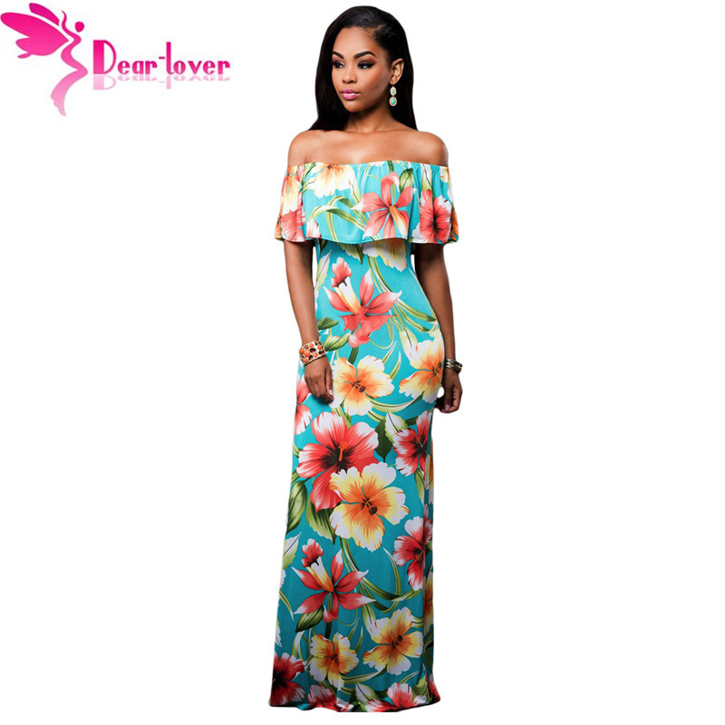b1b79c23024 Dear-Lover Off-the-shoulder Maxi Dresses Summer 2017 Holiday Party Navy  Blue Roses Print Gowns Vestido Festa Largo Robes LC61189