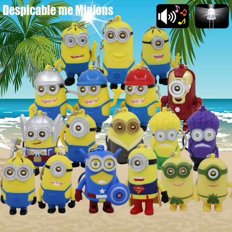 Wholesale 18 different kinds of Led Minions Keychains with sound,minions with flashlight led and sound car key rings kid gift