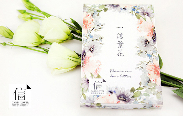 30pcs Blossoming Flower Love Letter LOMO Card Greeting Birthday Gift Cards Message Universal Blessing