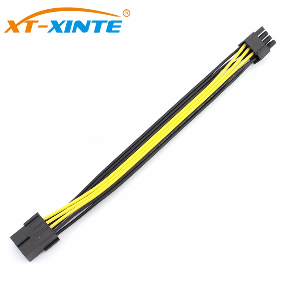 XT-XINTE PCIE PCI Expres 8Pin Extension Cable 8P to 2 Port Dual 6+2P GPU Graphics Power Supply Cable Cord 20cm 2pcs lot dual pci e pcie graphics video card 8pin 6 2pin splitter power cable cord with terminal for rig miner 12awg 16awg
