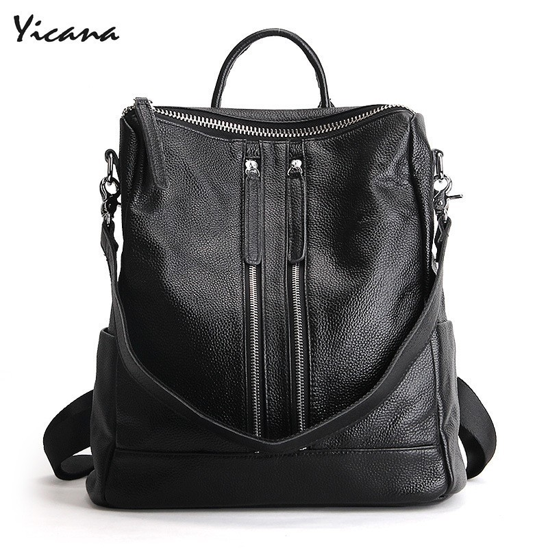 Yicana 2018 Spring/Summer New style Genuine Leather Both Zipper Will Capacity women travel Backpack Fashion Cowhide Shoulder bag korean style fashion student soft genuine leather zipper backpack beach travel cowhide solid color double shoulder bag for gifts