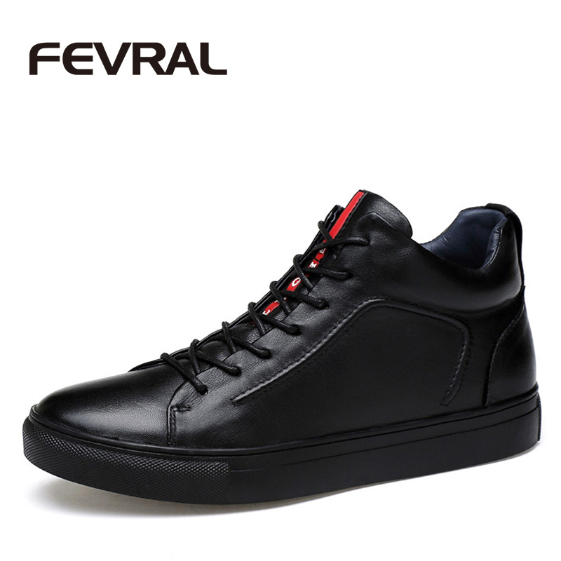 FEVRAL Winter Men Boots High Quality Genuine Leather Ankle Boots Plush Round toe Casual Shoes Men