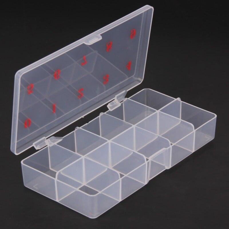 Professional10 Grids Nail Art Box 1pcs Empty Divided Case Nail Tips Rhinestone Beads Gems Storage Box Case Clear Plastic