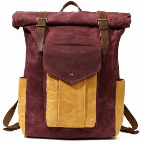 Винтаж Водонепроницаемый холст желтый/серый Рюкзак для Для мужчин ноутбук сумки Ретро студент школьная сумка большие рюкзаки коричневый/армия зеленый