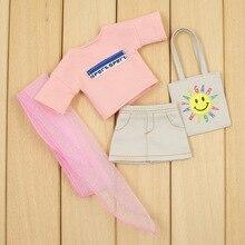 Neo Blythe Doll Oversize Pink Shirt Skirt With Hairband & Handbag