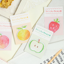 Buy 4 pcs Fruit sticky memo pads set Apple Strawberry color post note planner stickers marker it tag Stationery Office School A6636 directly from merchant!
