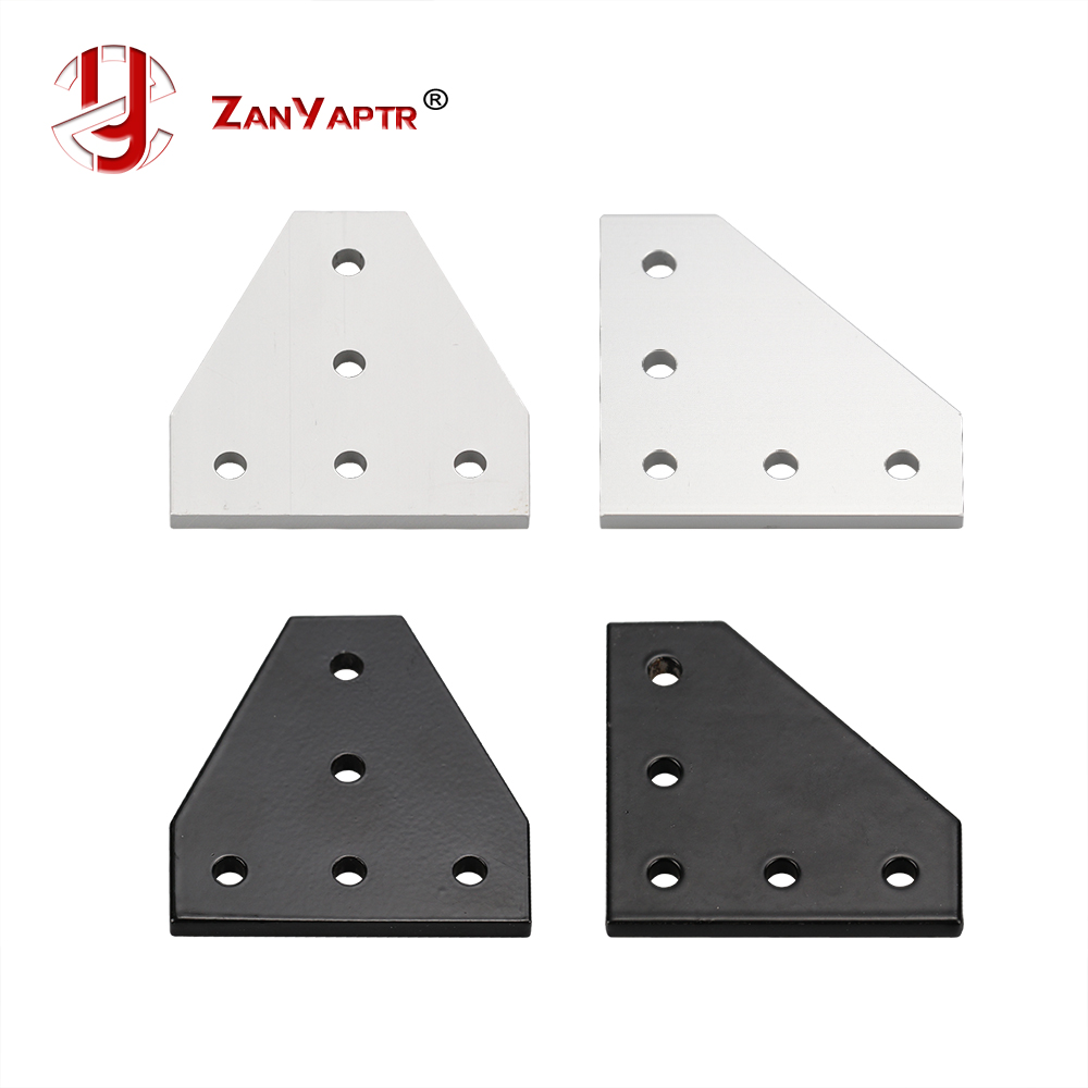60 perfiles de aluminio 60 x 60 placa de uni/ón negro Placa de conexi/ón placa de uni/ón de impresora CNC 3D 90 grados L//T con 5 agujeros