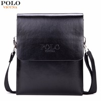 VICUNA POLO Hot Sell Brand Solid Double Pocket Soft Leather Men Messenger Bag Small 2 Layer
