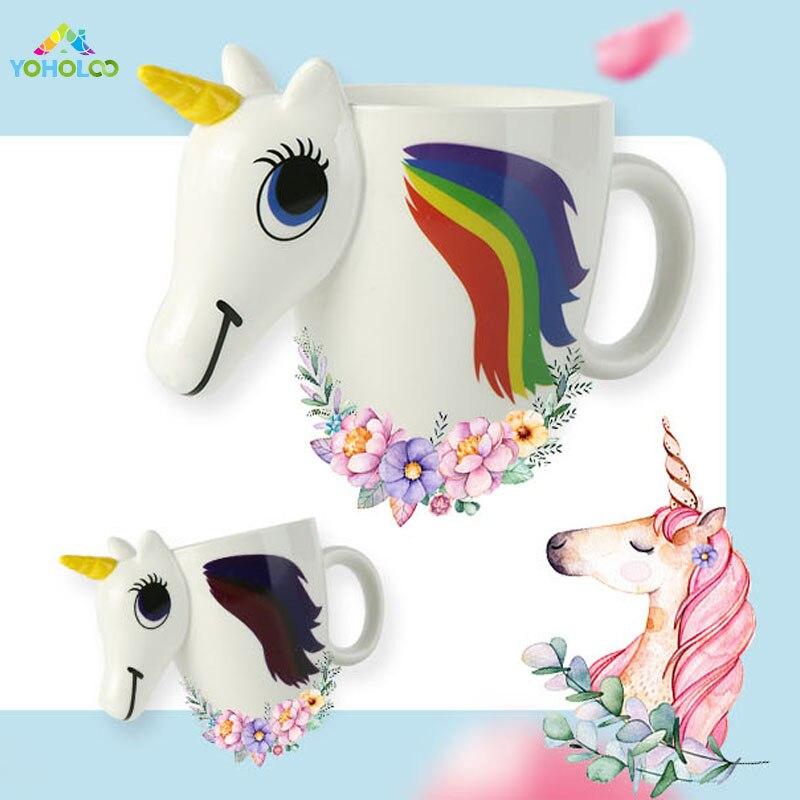 Unicornio de dibujos animados taza unicornio taza decoloración 3D taza de café de cerámica chica lindo regalo creativo cambio de color caballo mágico tazas
