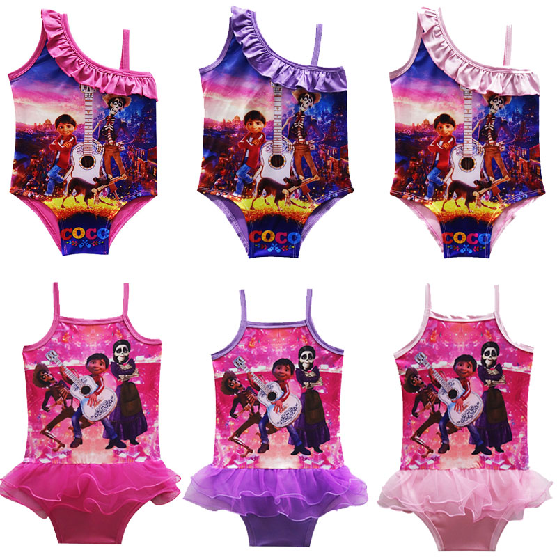 Movie COCO Miguel Cosplay Costume Swimsuit for Baby Girl Summer Dress Kids Party Gift Reffuled Beach Dress Nightgown Homewear