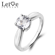 Leige Jewelry Round Cut Natural White Topaz Ring Engagement Ring Gemstone 925 Sterling Silver Solitaire Ring November Birthstone