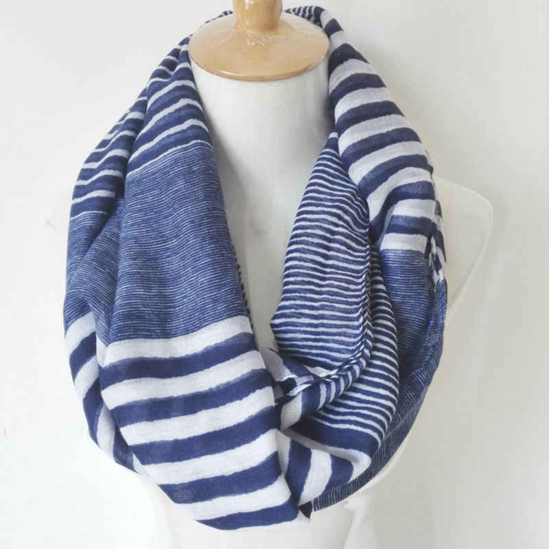 Visual Axles Winter Chunky Infinity Scarf New Fashion Soft Viscose Navy Striped Ring Loop Infinity Scarves For Women/Ladies