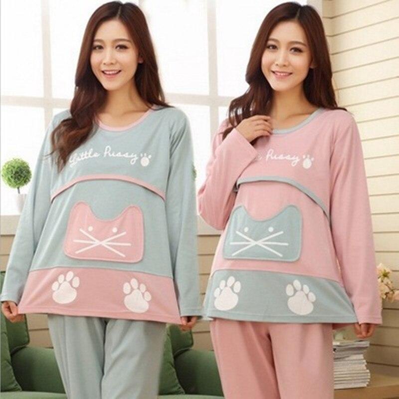 Cotton Maternity Pajamas Long Sleeve Pregnant Maternity Pajamas Maternity Sleepwear for Pregnant Women Nursing Cloting Set SY13