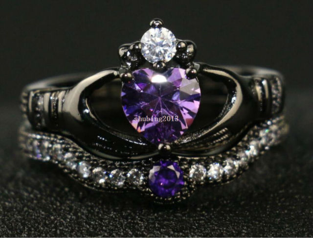 Irish Claddagh Ring Black Gold Filled Heart Purple Zircon Wedding Band Cz Women S Engagement Sets