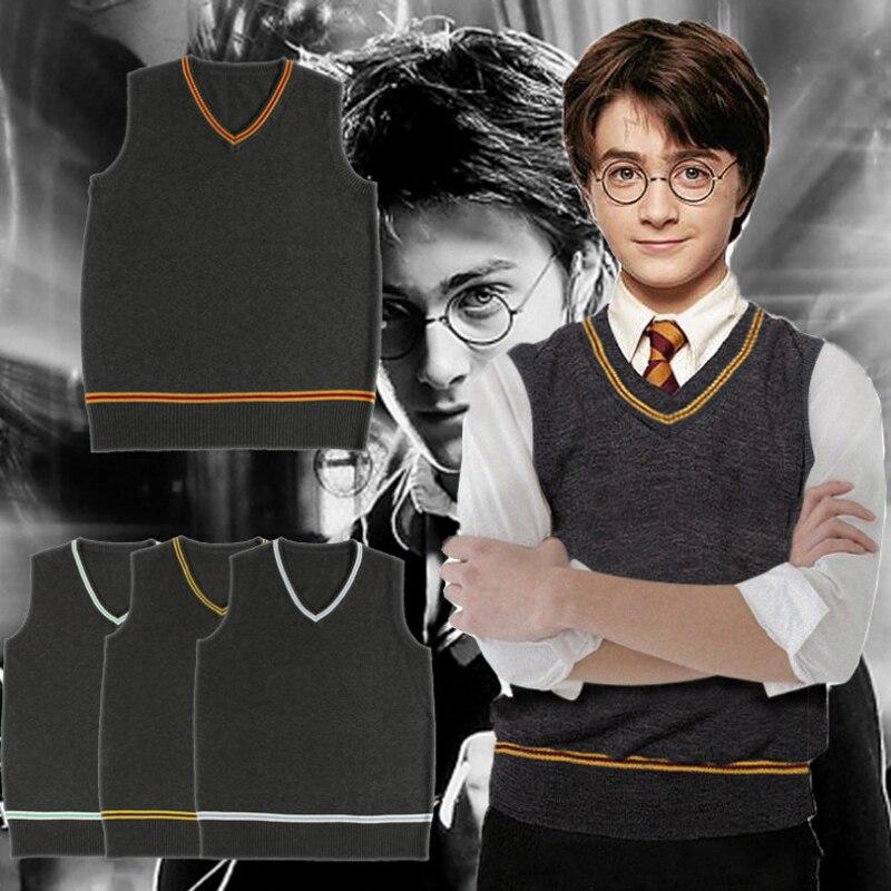 Harry Potter cosplay Vest Hogwarts Gryffindor Slytherin Ravenclaw Hufflepuff Sweater Waistcoat Unicom Costume