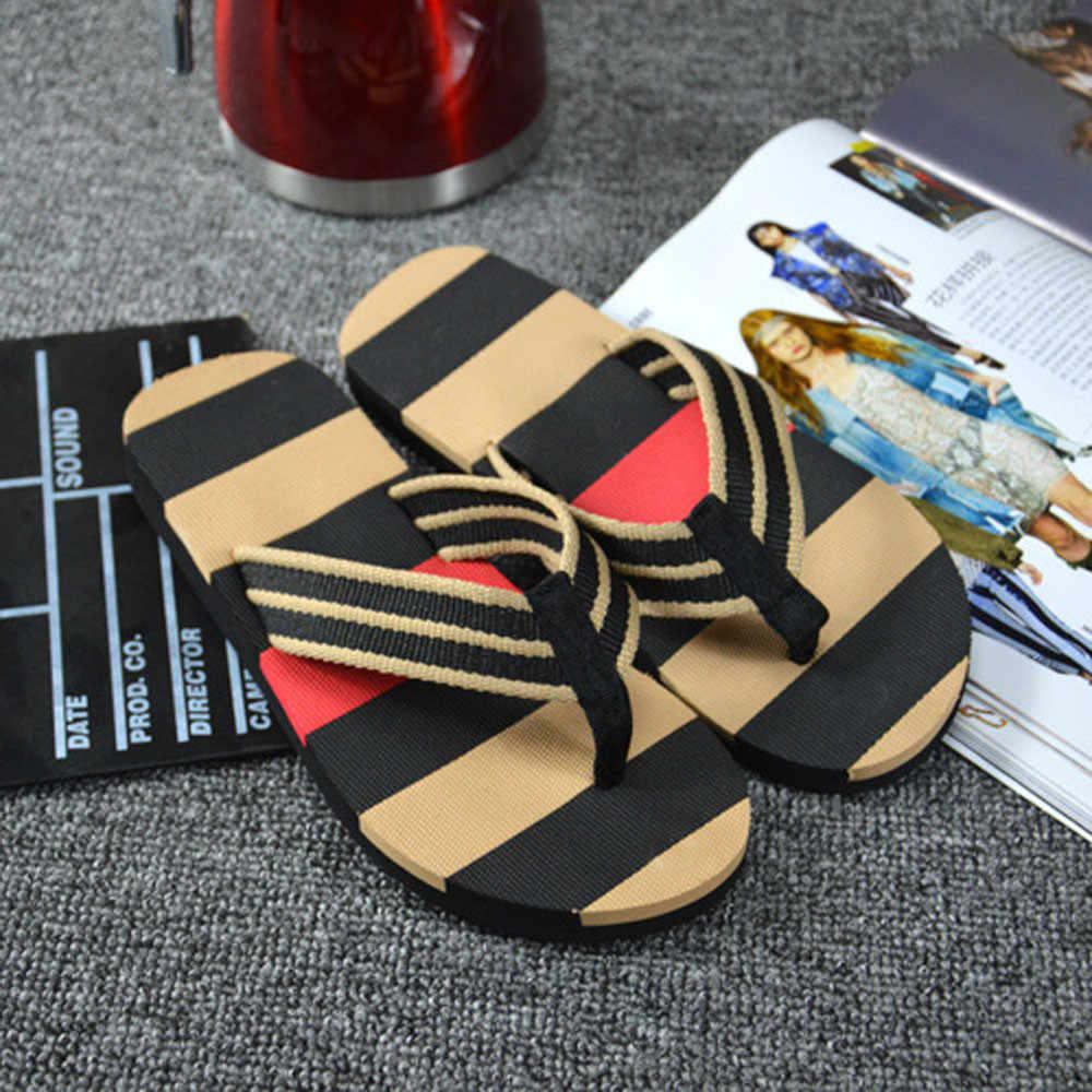 Sandalias de verano a rayas para hombre, sandalias, zapatillas para hombre, Calzado cómodo para la playa, Zapatillas de casa casuales para hombres y mujeres, parejas