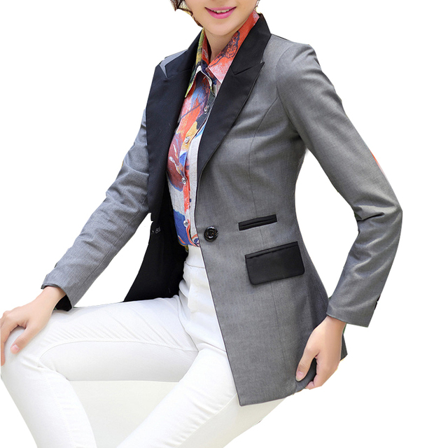 Women Business Blazers 2016 Collar Single Button Cotton Blend Patchwork OL Slim Suit Jacket Female Black/Grey