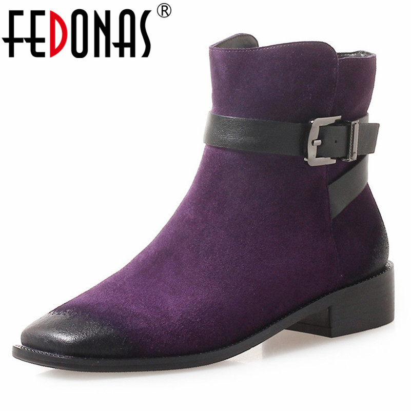 FEDONAS New Buckles Ankle Boots High Heels Square Toe Martin Shoes Woman Zipper Female Autumn Winter Short Boots Retro Shoes fedonas new warm autumn winter snow shoes woman high heels zipper short martin boots retro punk motorcycle boots 2019 new shoes