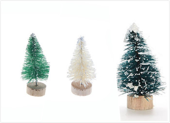 3 Colors 1 PCS DIY 4.5CM Mini Christmas Tree Small Pine Tree Santa Snow Frost Village House Sisal Bottle Brush image