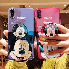 5d11ec1a092 Lindo Disneys de dibujos animados Mickey Mouse Minnie soporte de luz azul  espejo cubierta del teléfono para iphone Xr Xs Max X 6.