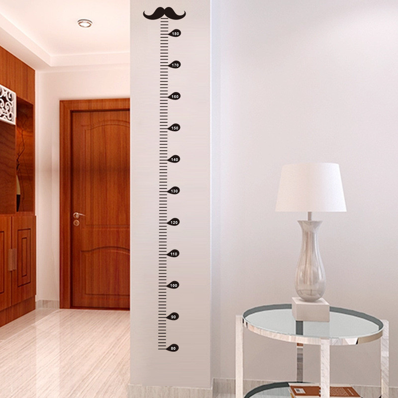 Cartoon Moustache Growth Chart Wall Art Decals Living Room Home Decorations Diy Stickers Kids Gift Height Measure Chart
