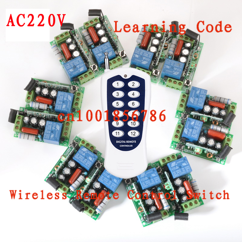 220V 1CH Wireless remote control switch light lamp LED ON OFF 12 Receiver &1 transmitter Learning Code Output Adjusted z-wave free shipping light lamp led bulb household appliances industrial equipment power remote on off smart home learning code ask