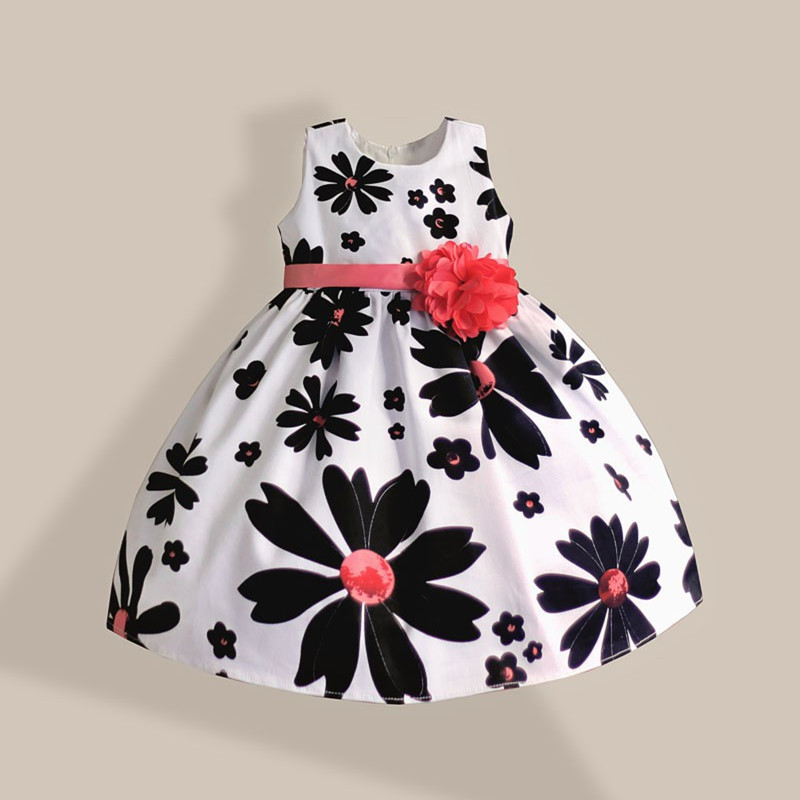 2016 girl dress white black floral with pink flower bow belt cotton princess summer kids dresses for girls party clothes 3-8T lace flower girl dress europe and the united states style silk belt princess kids dresses girls party dress for 2 8t