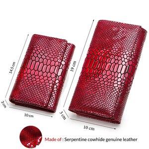 Image 2 - Luxus Marke Frauen Kupplung Brieftaschen Aus Echtem Leder Schlange Muster Druck Lange Geldbörse Weiblichen Handy Halter Tasche Dollar Preis