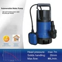 450 Вт 220 В Электрический сточных вод погружной водяной насос большой доза для твердых частиц с поплавок высокого давления 10 м кабель