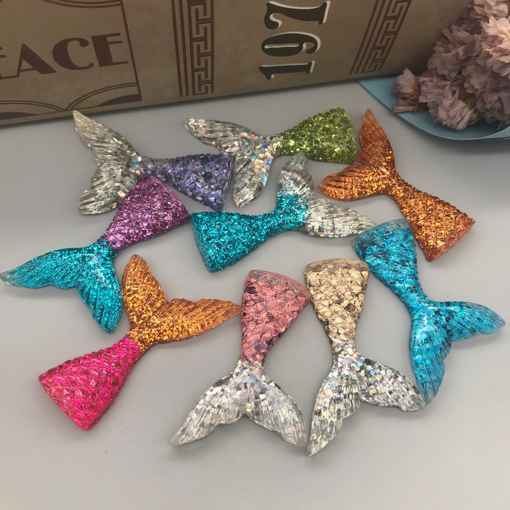 Sequins Mermaid Tail,flatback Cabochon For  Charm  Accessory,DIY,scrapbooking Decoration