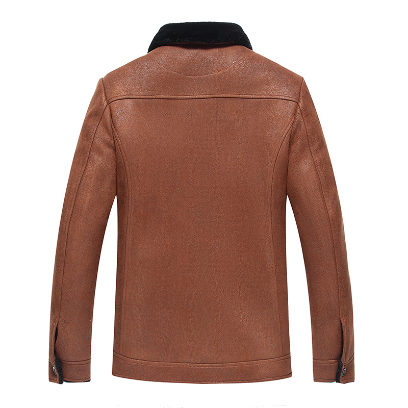 2019 High Quality Leather Jacket Men Faux Leather Coat Mens Leather Jacket Motorcycle Jacket Men Winter Leather Coat Fur Liner - 2