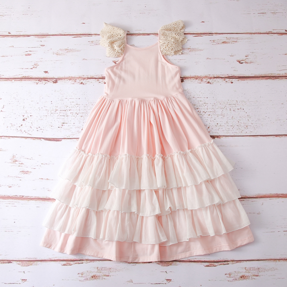 Pink girl long dress,Junior Bridesmaid dress Wedding girl dress Party girl dress Birthday girl dress Lace baby dress Tutu dresses (4)