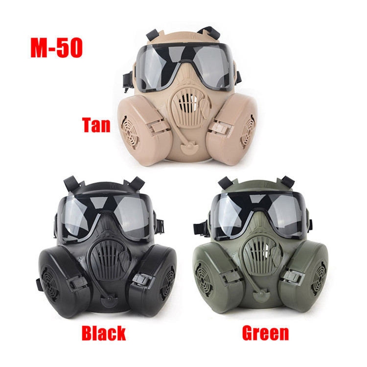 3 Colors Tactical Airsoft M50 Face Protection Mask Outdoors Paintball CS War Game US Military Full Face Skull Gas Mask With Fan