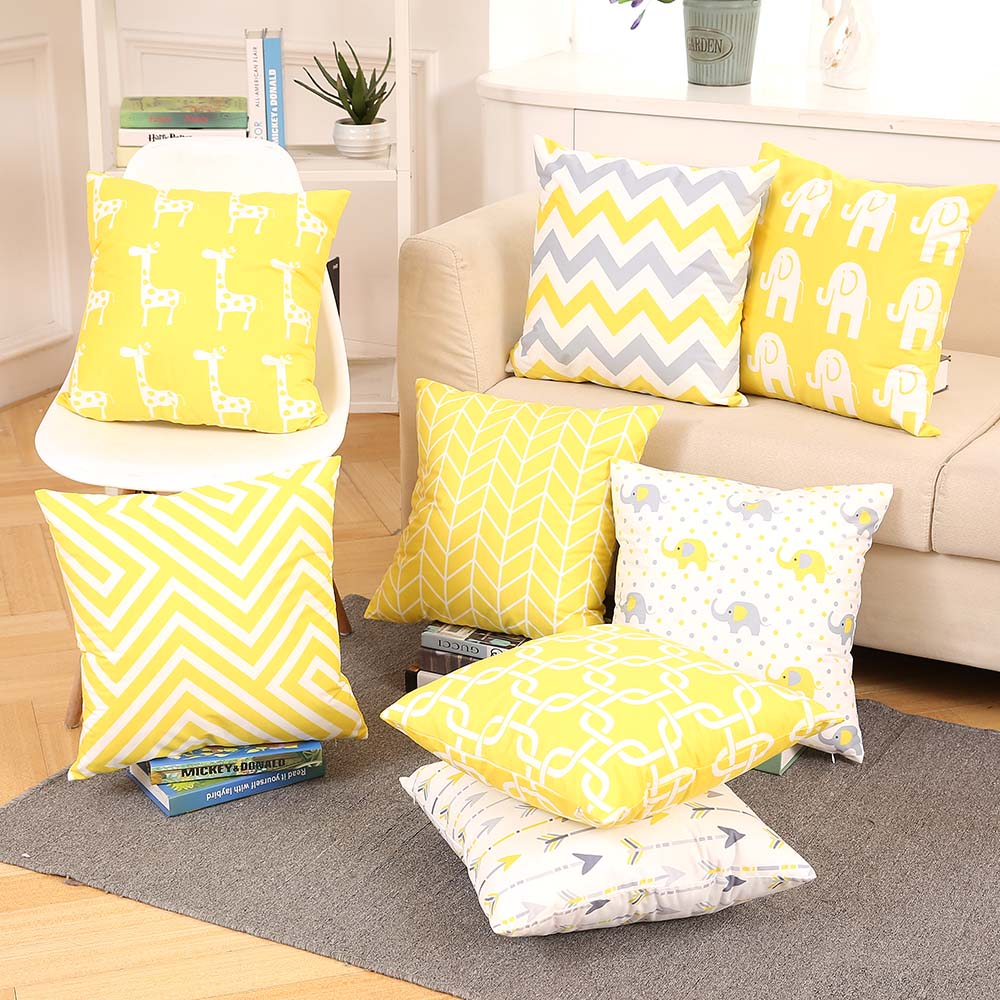 Soft Yellow Decorative Pillow : Drop Ship Double Side Print Supersoft Pillow Cover Yellow Cushion Cover Home Decor Pillow ...