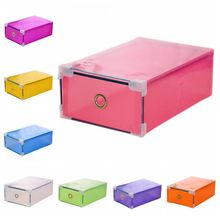 1PCS Drawer Container Stackable Shoes Box Plastic Foldable Shoes Storage Case Home Waterproof Organizer Box