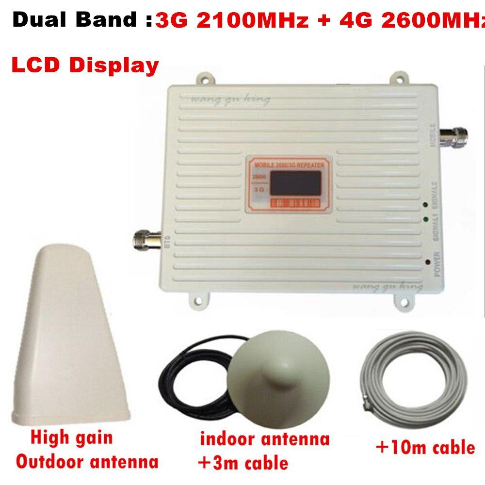 Gain d'affichage LCD 70dB gsm répéteur 2100 2600 amplificateur de signal cellulaire 3g wcdma 4g LTE 2100 2600 amplificateur de signal mobile double bande