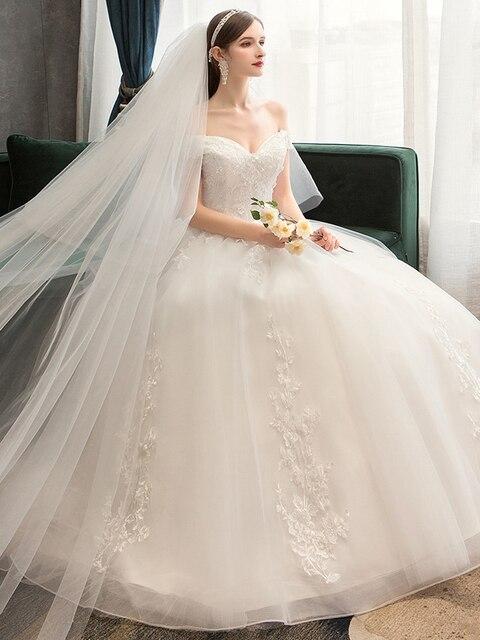 Plus Size Lace Flowers Peals Wedding Dresses Simple Elegant Wedding Gowns Bride Dress Boda robe de mariee Boat neck Off Shoulder 6