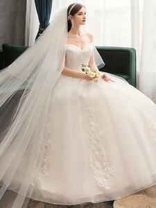 Image 5 - Plus Size Lace Flowers Peals Wedding Dresses Simple Elegant Wedding Gowns Bride Dress Boda robe de mariee Boat neck Off Shoulder