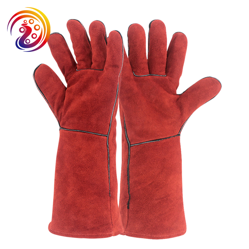 цена на OLSON DEEPAK Cow Split Leather Work Gloves Long Welders Glove Barbecue Carrying Factory Gardening Protective HY035