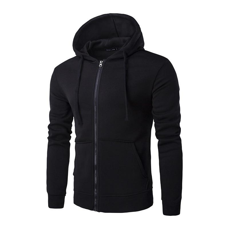 ZIPPER Hoodies Men 2017 Brand Male Long Sleeve Solid Hooded Sweatshirt Mens Hoodie Tracksuit Sweat Coat Casual Sportswear H1024