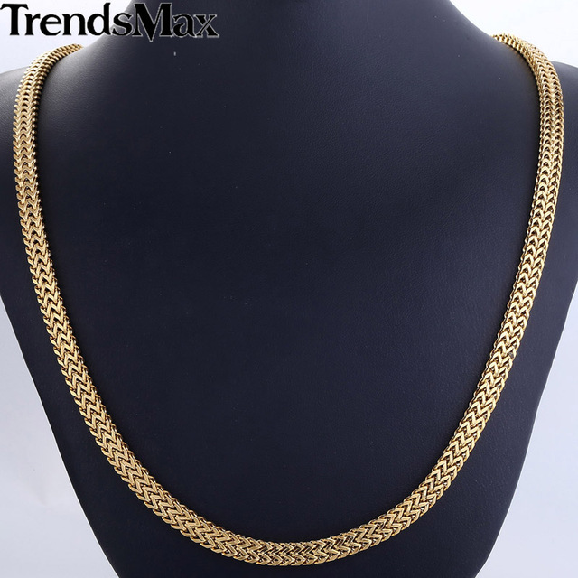 Trendsmax 6mm Mens Chain Gold Plated Curb Franco Box Foxtail Box Link Boys 316L Stainless Steel Necklace Wholesale Jewelry HN59