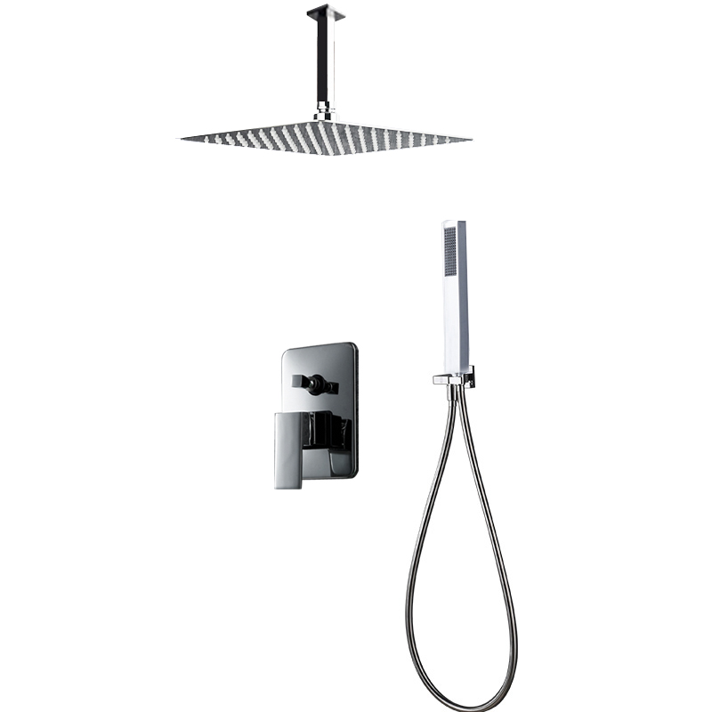 BAKALA Luxury 8-10-12-16 inch Stainless Steel Ceiling Mount Bathroom Rain Shower Faucets Head Shower Set With Hand Shower BR-CP 12 inch shower head with arm 300 300 stainless steel head shower with ceiling shower arm top water saving rain shower