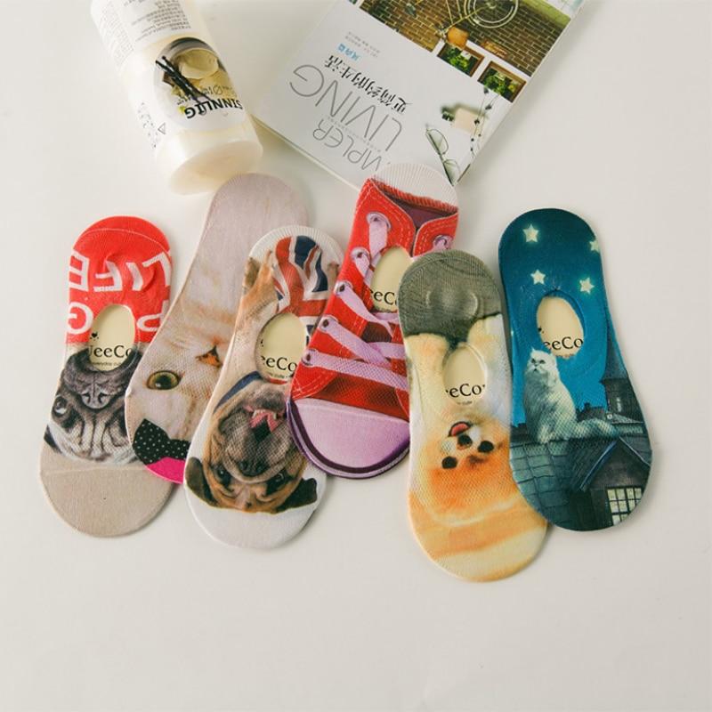 women men summer breathable 3D printing fashion cartoon socks Harajuku art Invisible shallow mouth cute animal casual socks
