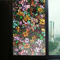 Painted Magnolia Window Privacy Film Glass Sticker Static Anti UV Glue free bedroom door Opaque Home Decorative Film Width 92cm