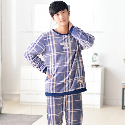 960887f1c0 Men Flannel Pajamas Set Casual Home Clothing Winter Long Sleeve Round Neck  Plaid Men s Sleepwear Pyjamas Homme Nightclothes-in Pajama Sets from Men s  ...