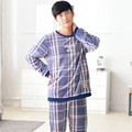 Men Flannel Pajamas Set Casual Home Clothing Winter Long Sleeve Round Neck Plaid Men's Sleepwear Pyjamas Homme Nightclothes