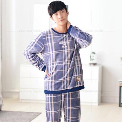 Men Flannel Pajamas Set Casual Home Clothing Winter Long Sleeve Round Neck Plaid Men's Sleepwear Pyjamas Homme Nightclothes