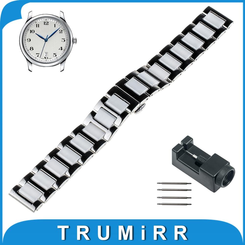 18mm 20mm 22mm Ceramic Watch Band for Longines L2 L3 L4 Master Flagship Conquest Strap Wrist Bracelet  Black Rose Gold White