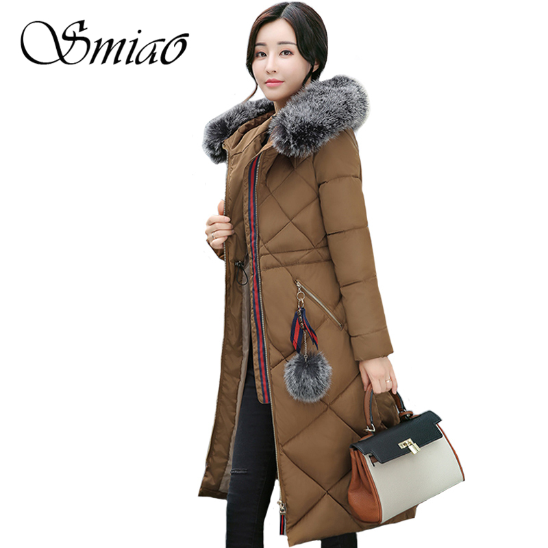 Smiao 2017 Brand Fur collar Cotton-padded Women Winter Jacket Long Warm Thick Hooded Winter Coat Famale Parkas Plus Size M-3XL 2017 new winter women winter women in the long section of thick cotton coat fur collar jacket cold winter jacket size m xxl